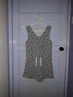 Girls Kylie  Shorts Jumpsuit Grey Multi Palm Trees Age 13/13+Yrs Nwot