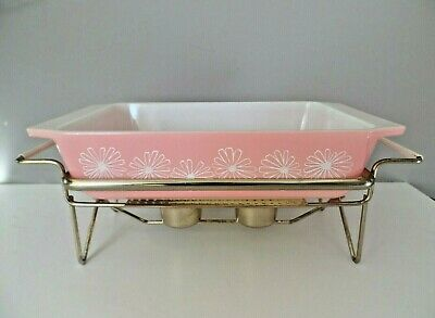 Vintage Pyrex Gaiety Pink Daisy 2162 Casserole & Warmer Spacesaver With No Lid