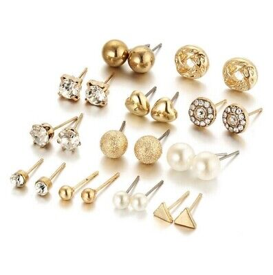 Wholesale Set Of 12 Pairs Heart Pearl Ear Studs Earrings Gold Crystal Shinny UK