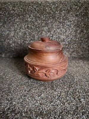 Carved Wooden lidded pot - container - Ornament