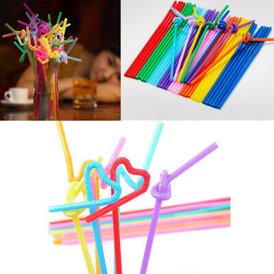 100 Pcs Drinking Straws Bendable Flexible Plastic Straws Rainbow Color