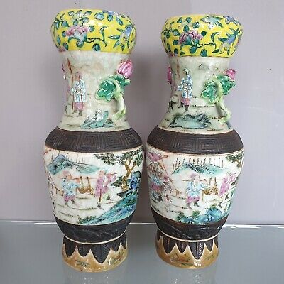 Pair Of Beautiful Large Chinese Antique 19Th C Famille Rose Hunters Story Vases