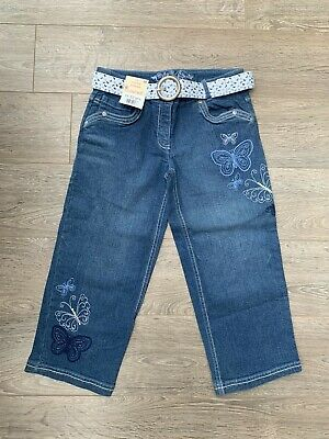 Cherokee Girls Blue Butterfly Mid Rise Cropped Jeans Age 11/12 Bnwt