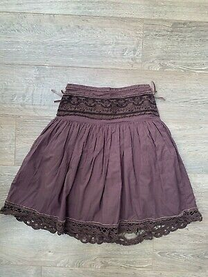 Monsoon Brown Lace Edge Layered Skirt Age 6 Used