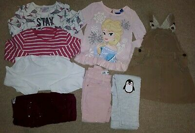 Girls Winter Bundle Of Clothes Size 3-4 Years Frozen Long Sleeves Jeans Xmas