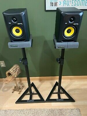 """KRK Rokit G3 RP5G3 5"""" Powered Active Studio Monitors + Stands + Cables Package"""
