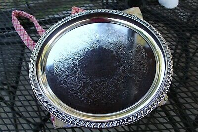 """LEONARD Silver plate round 12"""" tray serving plate vintage """"Pineapple pattern"""""""