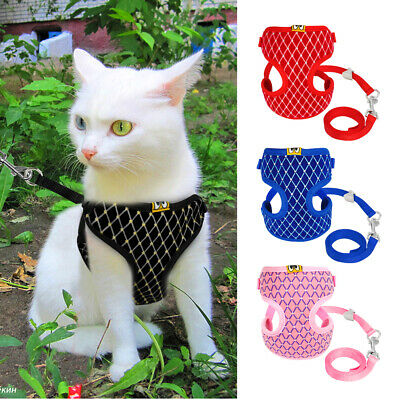 Breathable Padded Cat Dog Harness & Lead Puppy Dogs Kitten Walking Vest Safety