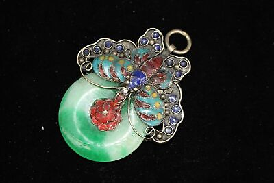 Collect Old Cloisonne & Green Jade Hand-Carved Butterfly Delicate Decor Pendant