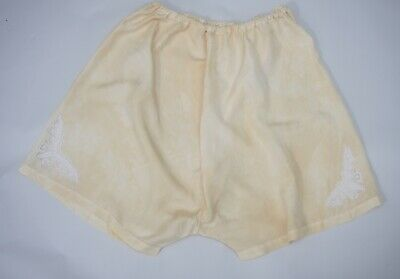 "Antique Vintage Silk Bloomers Knickers with filet lace butterfly 35"" waist"