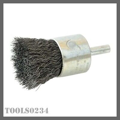 "Weiler 10010 1"" Crimped Wire Cup Brush - .014"" - Steel Fill - 3/4"" Stem"