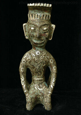 """12"""" Antique China Shang Dynasty Bronze Ware Silver Double Face People God Statue"""