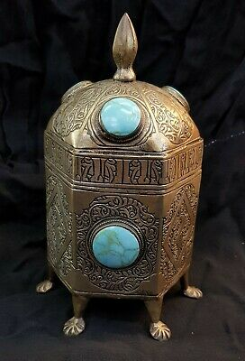 Beautiful Egyptian Antique MixSilver Handicraft Box with Persian Turquoise Stone