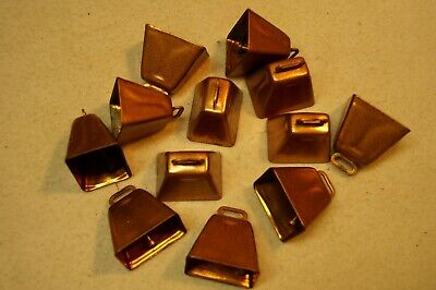 Copper bells.  12 each.  1-1/2 inch.  Crafting.