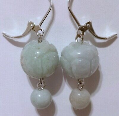 Gorgeous 925 Silver 100% Natural Icy-Green Jade Jadeite Carved Earrings. New.