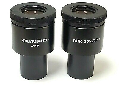 Pair of Olympus WHK 10X/20 L Microscope Eyepieces 23mm