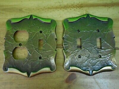 Set of 2 Vintage Amerock Carriage House Brass Double Light Switch Outlet Covers