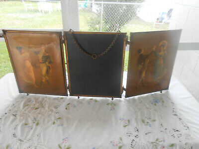 Tri-fold Beveled Mirror Antique Victorian Couple Dresser Vanity Top Hanging VTG