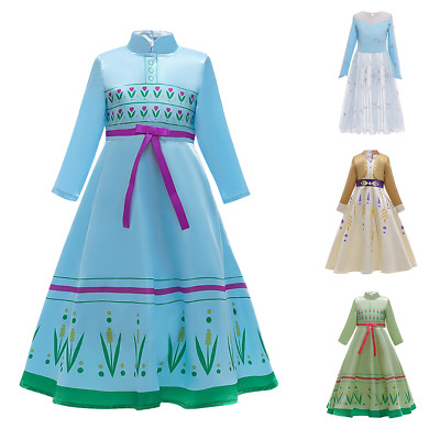 Girl Princess Fancy Dress Frozen 2 Elsa Anna Cosplay Costume for Christmas Party