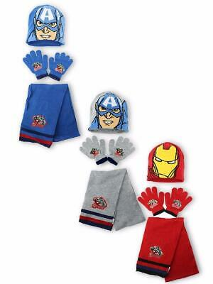 Boys Kids Marvel Avengers Winter Hat Gloves and Scarf Set 3 PCs Set Age 4-8Yr