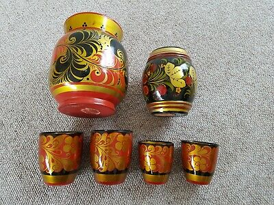 Collection Of Vintage Hand Painted Russian Khokhloma Wooden Vases/Pots
