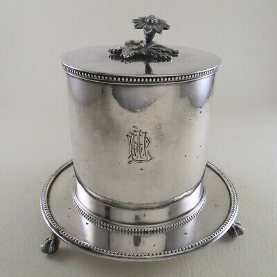 MAPPIN & WEBB English Silverplate Small Biscuit Barrel Coffee Tea Caddy Humidor