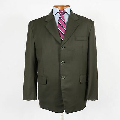 Custom Tailor Made Mens 42S Olive Green 3 Button Suit 37x29 Pleated Pants 153