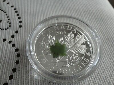 2014 Majestic Maple Leaves With Jade $20 Fine Silver Coin