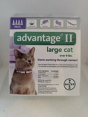 New Sealed Bayer Advantage II Flea Treatment for Large Cats Over 9 lbs 4 Doses