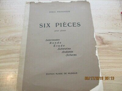 PROKOFIEFF-SIX PIECES, Op 52 No 5 (Andante) for Piano-1st Edition-Edition Russe