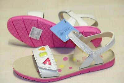 Clarks White leather older girls sandals 4/37, 4.5/37.5 F RRP £38
