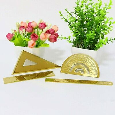 4Pcs Ruler Drafting Tools Stainless Steel Ruler Measuring Stationery for School