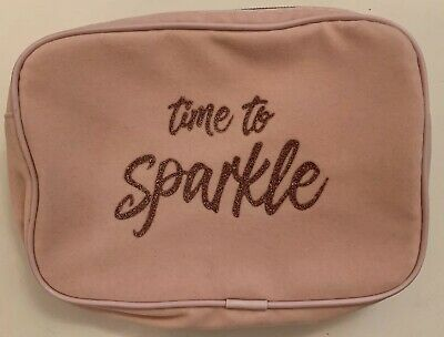 """""""Time To Sparkle"""" Makeup Cosmetics Pink Storage Velvet Style Bag"""