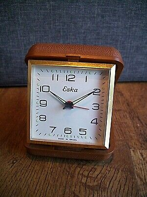 Vintage Eska Faux Leather Cased Travel Alarm Clock with Winding Mechanism (Time)