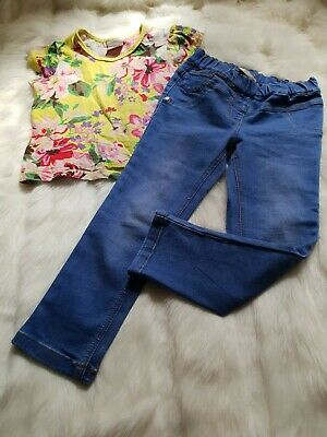 Girls 3-4 Years Outfit floral t-shirt Top Skinny Jeans jeggings bundle Next Day