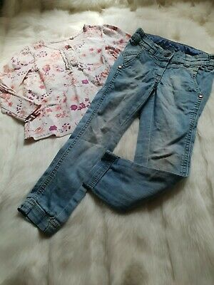 Girls 3-4 Years Outfit bird floral Top Skinny Jeans  bundle Next Day