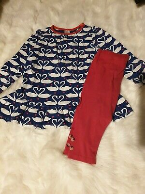 girls 2-3 years swan long sleeve tunic dress & leggings outfit clothes next day