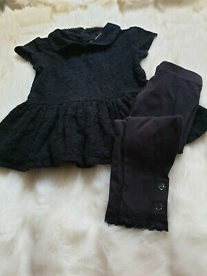 Girls 3-4 Years Bundle smart crochet polo tunic blouse Top leggings outfit Next