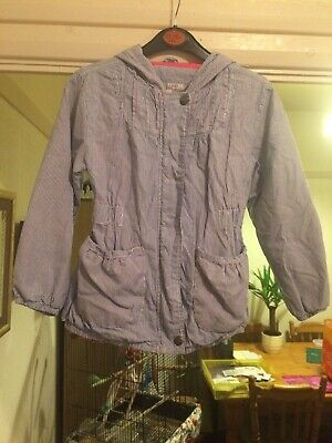 Girl's M&S Blue/White Coat  Aged 6-7 Years