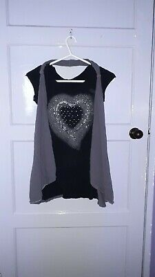 Girls Kylie T Shirt Top Grey Black Multi Colour Heart Detail Age 13/13+ Years