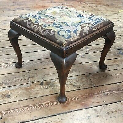 Antique Victorian Green Upholstered Stool - With winged Unicorn pattern