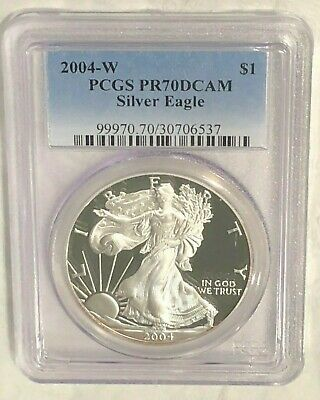 2004-W American Silver Eagle PCGS PR70 DCAM : High Reflection Surfaces