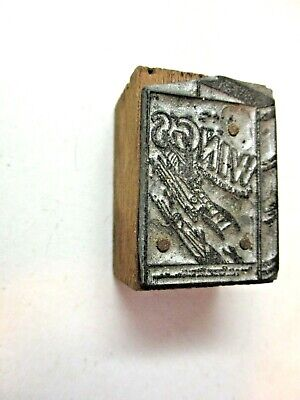 Wood Block Zinc Advertising Book Stacked Wings Airplanes Printing Press Antique