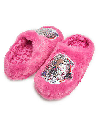 LOL Surprise Dolls Girls Slippers House Shoes Pink Leopard  Plush Small 11-12