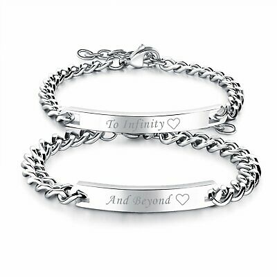 """Stainless Steel Matching """"To Infinity"""" """"And Beyond"""" Lovers Couple Bracelet 2pcs"""