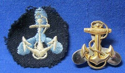WWII Sterling Navy Naval WAVE Women Volunteer Insignia & Patch Lot Of 2