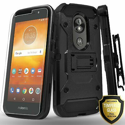 For Moto E5 Play Go Cruise Plus Case, Clip Kickstand + Tempered Glass Protector