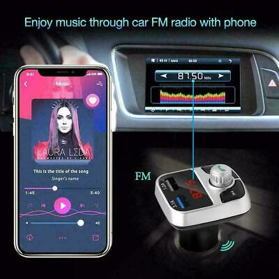 Wireless InCar Bluetooth FM Transmitter MP3 Radio Adapter Fast Charger USB A7D4