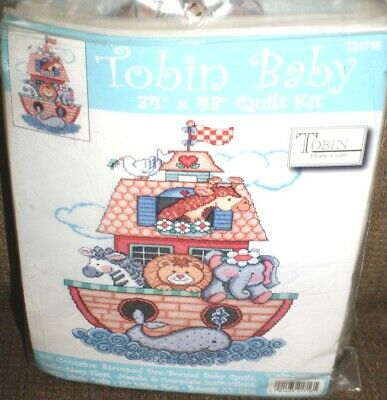 Tobin Baby Quilt 34''x43'' Stamped Cross Stitch Quilt-Noah's Ark Kit NEW