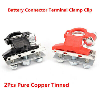 A Pair Car Replacement Battery Connector Terminal Clamp Clips Pure Copper Tinned